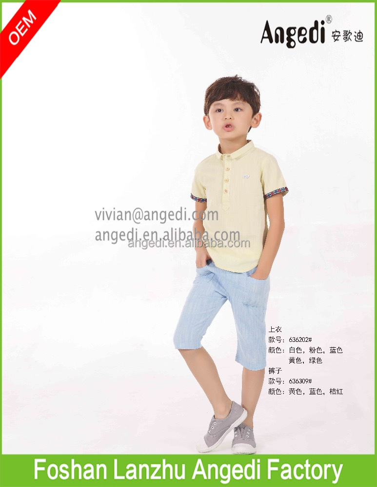 Original design Hot Sale New fashion Casual Boys Clothing set woven capri with polo set