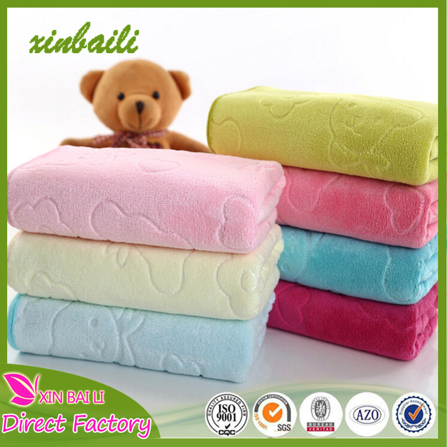 Cute bear design embossing excellent absorption microfiber face towel