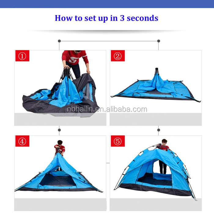 3-4 person fast open instant automatic camping tent