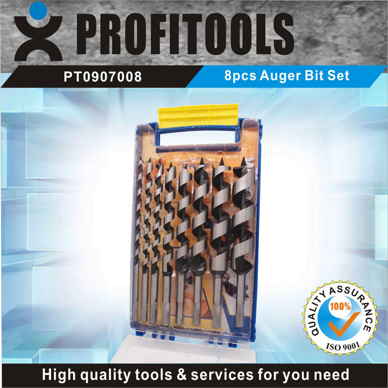 8pcs wood auger bit tool kit with handy plastic case