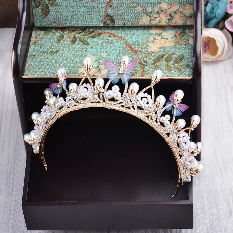 Shining pearl butterfly design headbands for women hair accessories