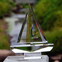 Unique Customized Sailing Boat Crystal Trophies