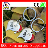 best price and high quality heart shape key chain with winter hat, couple happy keyring wholesale (HH-key chain-909-1)