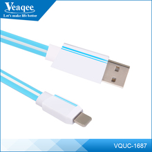 Veaqee Wholesale colourful TPE usb 2.0 data cable for iPhone quick charger