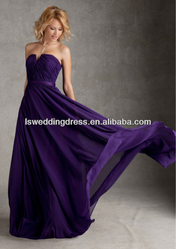 HB2074 Beautiful strapless sleeveless ribbon A-line full length long puffy sexy zipper back purple notched neck bridesmaid dress