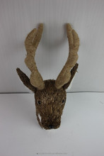 Latest China best popular product 42*25*22cm Natural grass deer head for Christmas decoration