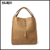Camel-Brown Full-Grain Leather Tote Bag for Men