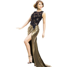 Big Stock Wholesale Sheer Lace Top Luxe Gold Shimmer Wedding Mother Dress