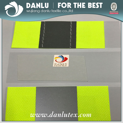 Fluo Yellow Oxford Fabric with Sewed High Reflective Tape