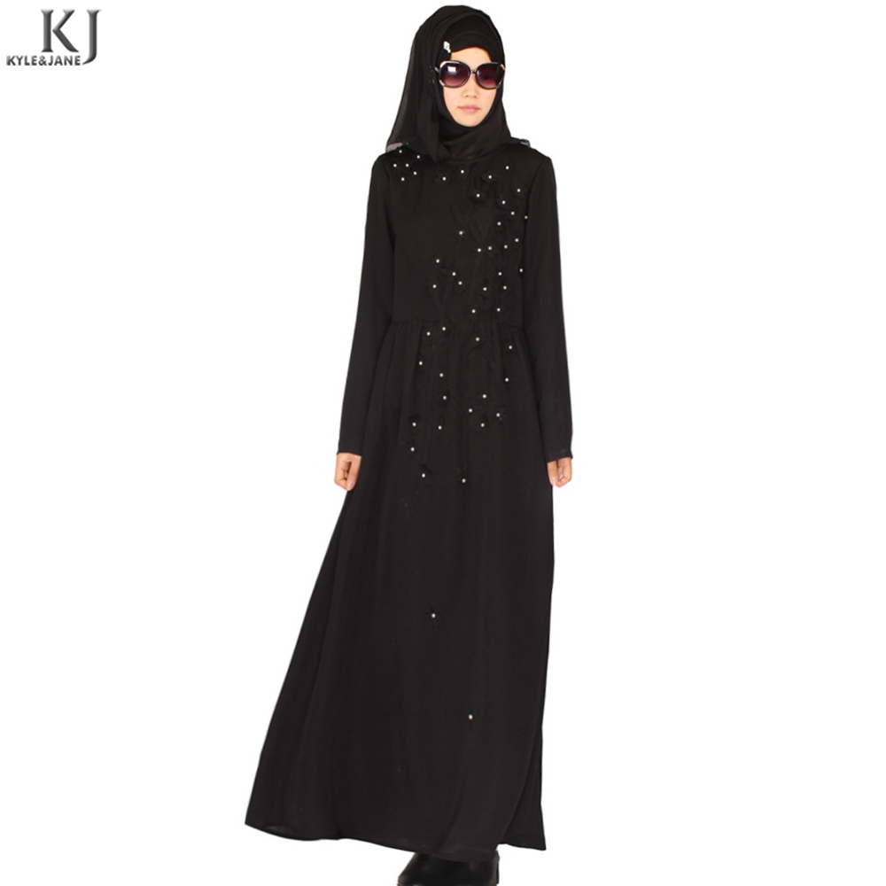 black dubai flower contrast color pearl beading manufacturer islamic robe in wholesale with nida fabric caftan robe