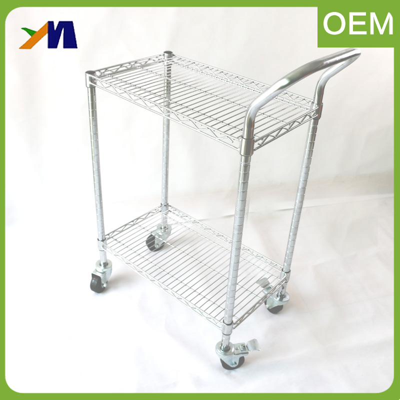 Rolling Industrial Storage Stainless Steel Trolley Cart With Wheels