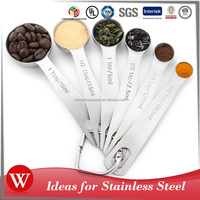 High quality 6 Pcs Set Stainless Steel Measuring Spoon
