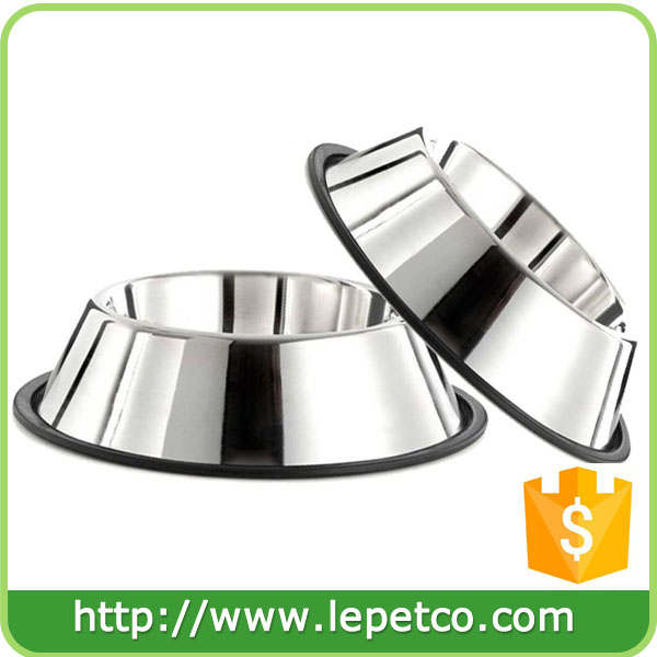 Custom logo Non-Skid Rubber bottom Stainless Steel Dog Bowls large dog feeder