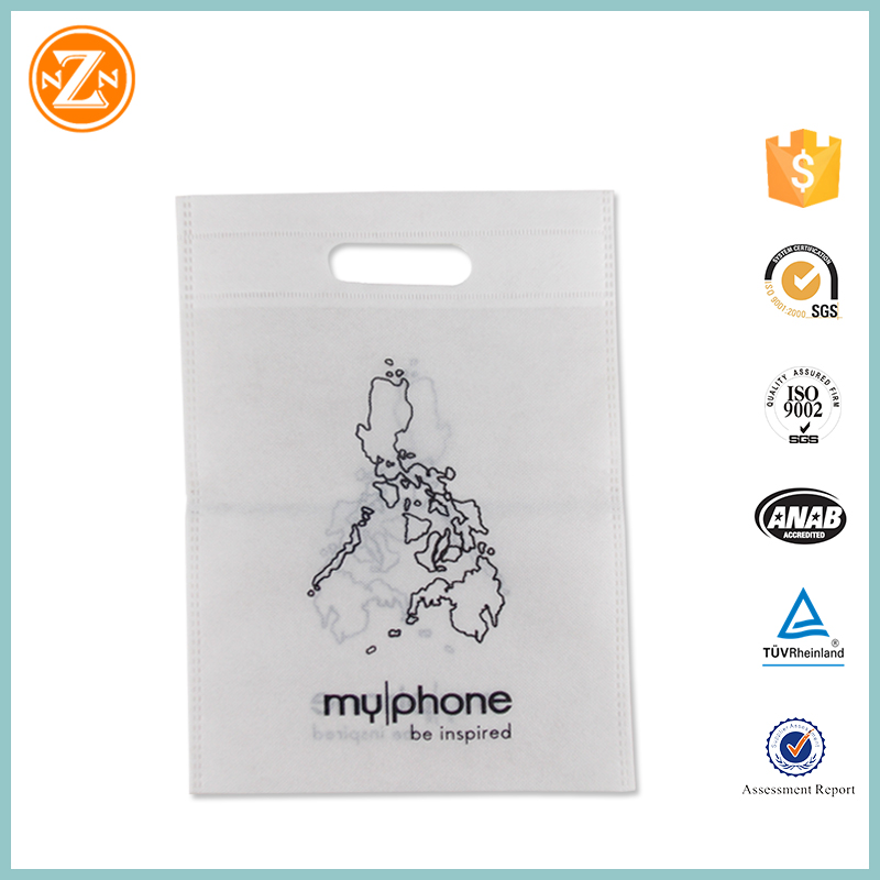 white gift pp non woven bag printed shopping bags recyclable custom non woven punch bag