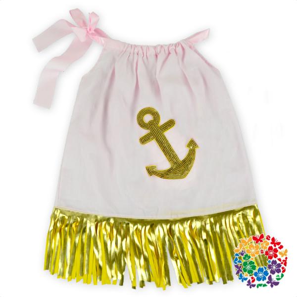Latest Designs Cute Pink Children Dress Anchor Baby Pillowcase Dress Pictures Fashion Children ...