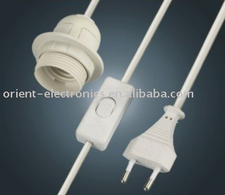 EU switch salt lamp power cord for E27 size with 303 switch