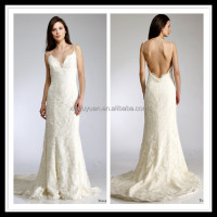 2014 famous designer lace spaghetti strap mermaid wedding dress Vestido de Noiva custom made in Suzhou China CYMW-010