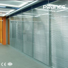 Frosted glass wall partitions aluminum frame glass partition louver