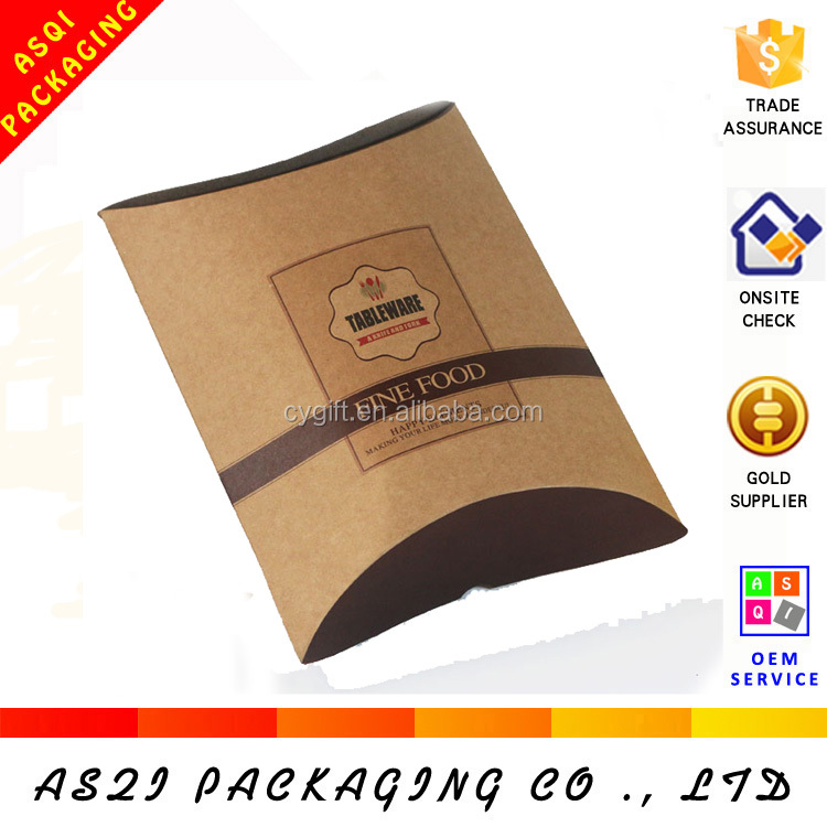 china custom design recycle eco- friendly kraft paper pillow box packaging for wholesale
