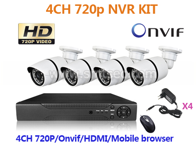 NVR-KIT104/960P 4ch NVR KIT 960P 1.3mp Wireless outdoor IP Camera P2P Home alarm video push CCTV Security system