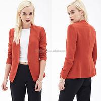 2014 New style design collarless one button coats jackets women blazer