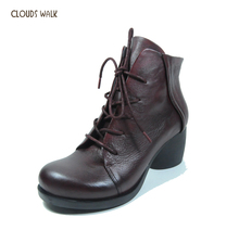 China manufacture women shoes classic chunky lace up leather shoes ladies ankle boots