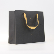High Quality Durable Custom Print Made Recycled Black Paper Shopping Bag With Handles