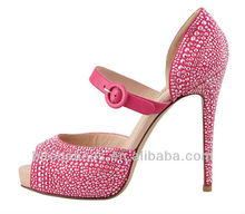 Beautiful red high heels dressing shoes with crystals