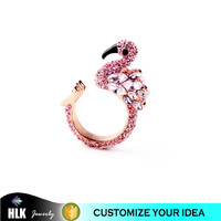unique flamingo special design micro setting pink crystal adjustable wedding rings wholesale indian jewelry
