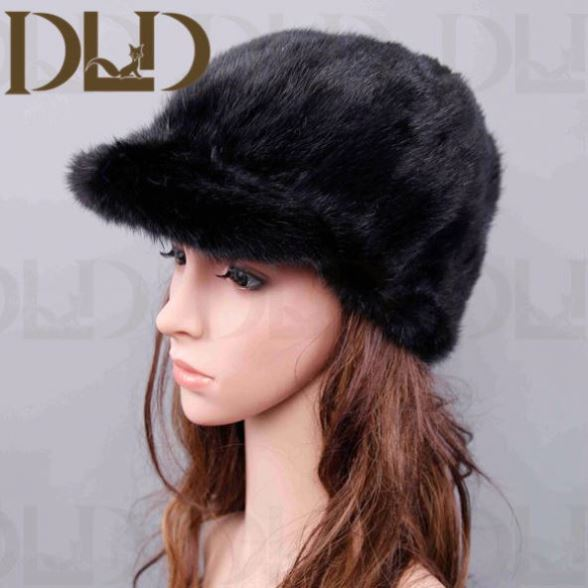 Factory Direct Sale Knitted Knitted Mink Fur Cap And Hat