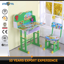 Cartoon combo school desk and chair chair and desk attached school student desk and chair