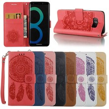 New Fashion Flower Leather Flip Case for Samsung Galaxy S8, 8 Colors Available