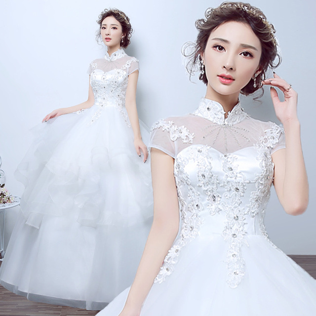 WTY07 2016 lace White Ivory A-Line Wedding Dresses for bride gown Appliques Vintage plus size Customer made size