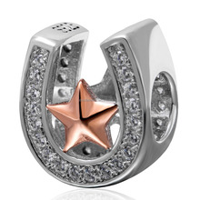 925 Sterling Silver Good Luck Horseshoe Charm Bead with Rose Gold Star