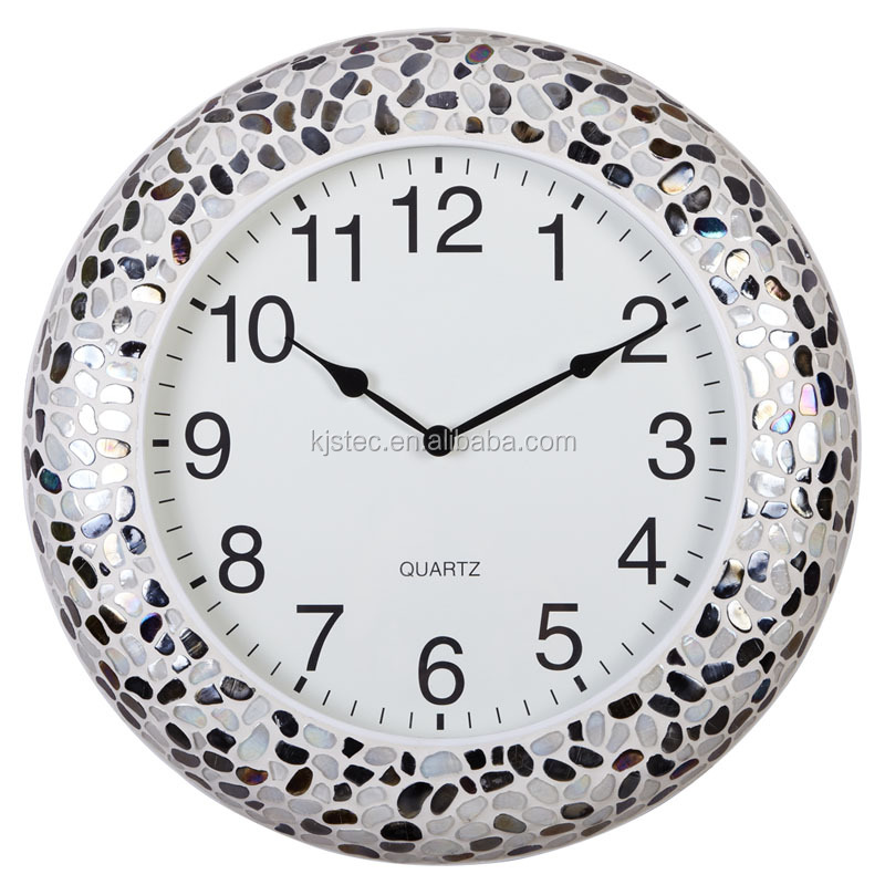 Wholesale art decorative glass mirror face metal wall clock