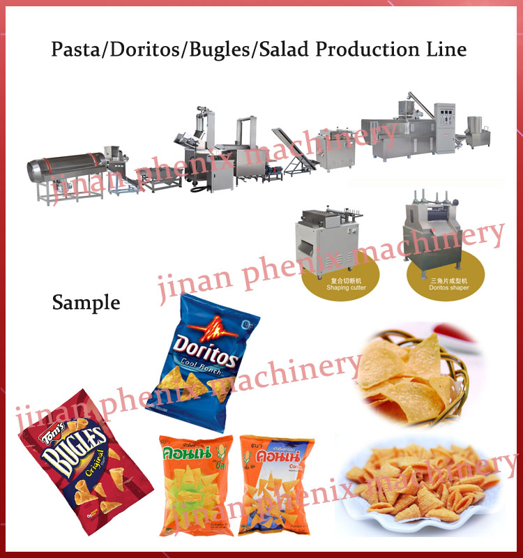 high automatic bugles corn chips food making machine