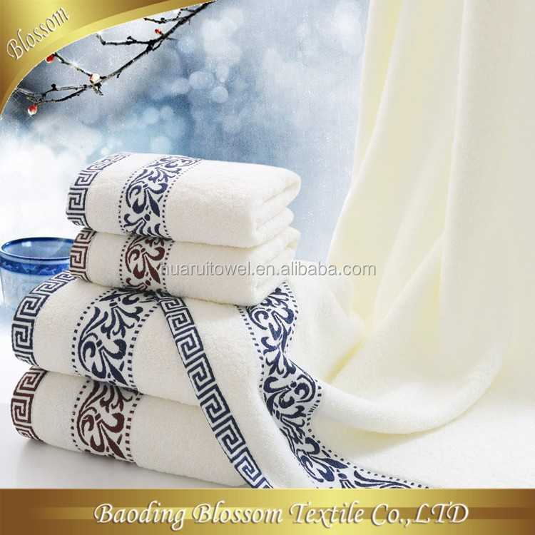 custom made 100% cotton plain dyed jacquard luxury promotional bath towel hotel towel