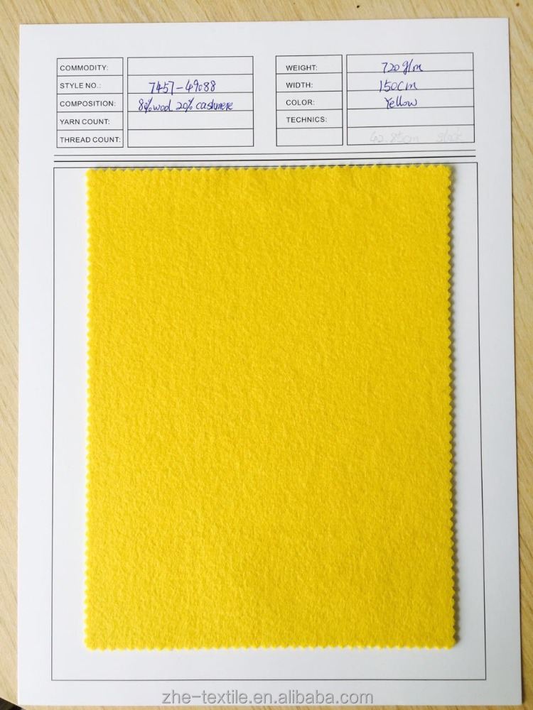 yellow color 20% cashmere 80% wool blend fabric