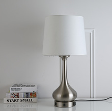 Hotel brushed nickel nightlight and TV ledge lamp with outlet and USB port