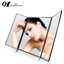 Touch screen sensing trifolded makeup LED mirror with stand