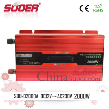 Suoer 2kw 12v 220v Intelligent Solar Off Grid Power Inverter with LCD Display