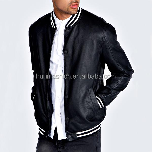 latest design winter leather jackets for men stripe ribbing collar mens leather coat