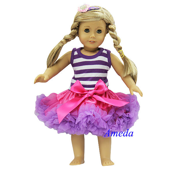 "18"" American Girl Doll Doc McStuffins Tee Hot Pink Purple Pettiskirt Outfit"