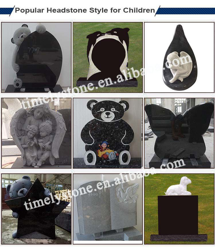 Simple Quality Granite Teddy Bear Star Child Headstone