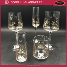 Qixian Dongjiu Hand made mouth blown 240ml clear Lead-free Crystal Glass Beer Cup w/gold dots decal