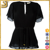 New Arrival black white lady top, lace short sleeve blouse