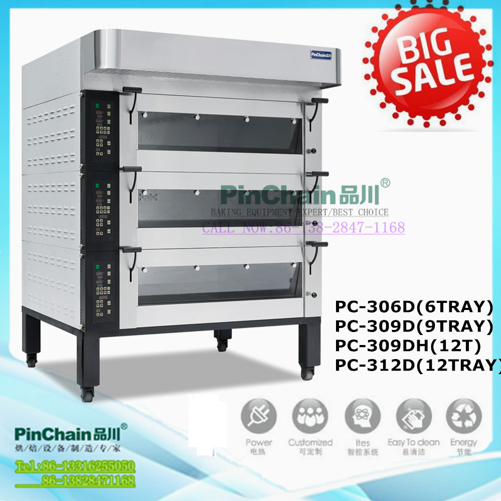 Electric 6pan,9pan,12pan European style decks Baking oven machine (manufacturers) for Commercial bakery machine