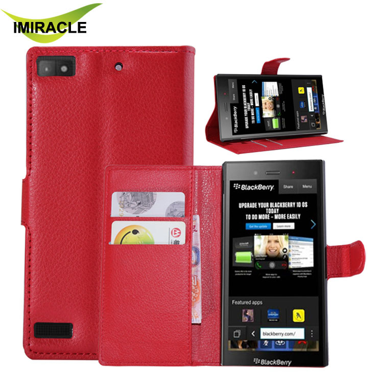 Hot Sale Black PU Leather Book Case For Blackberry Z3 Cover Flip With Stand Design Card Slots