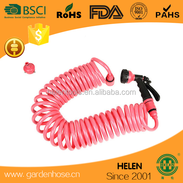 EVA recoil Expanding Hose Green Flexible Expandable 30 Metre Coil Hose+spray gun, ideal to water the garden