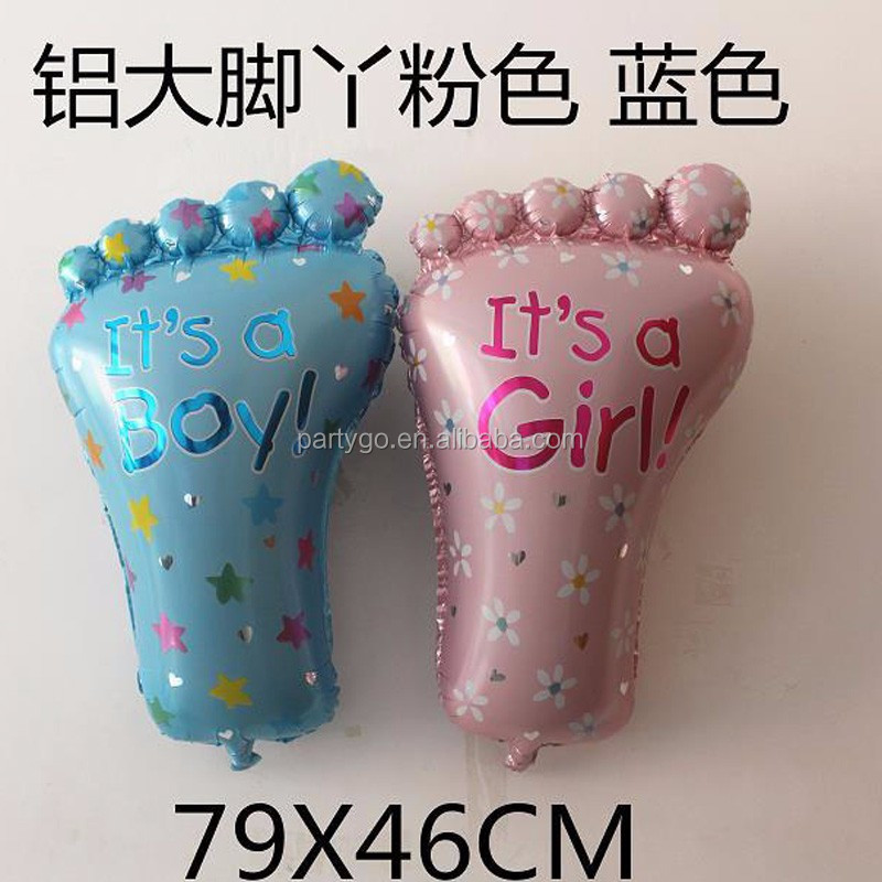 79*46cm baby Big Feet Foil Balloons Baby Shower Helium Balloon